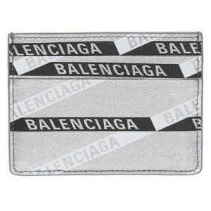 New Balenciaga Silver Leather Printed Logo Card